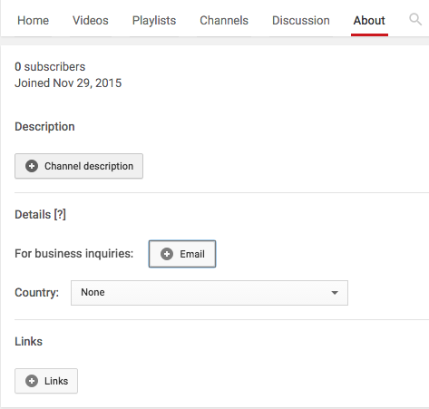 Add YouTube Channel Description and Contact Details