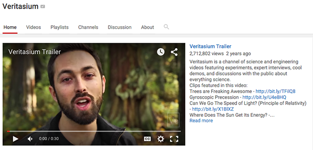 YouTube Video Trailer on Channel Homepage